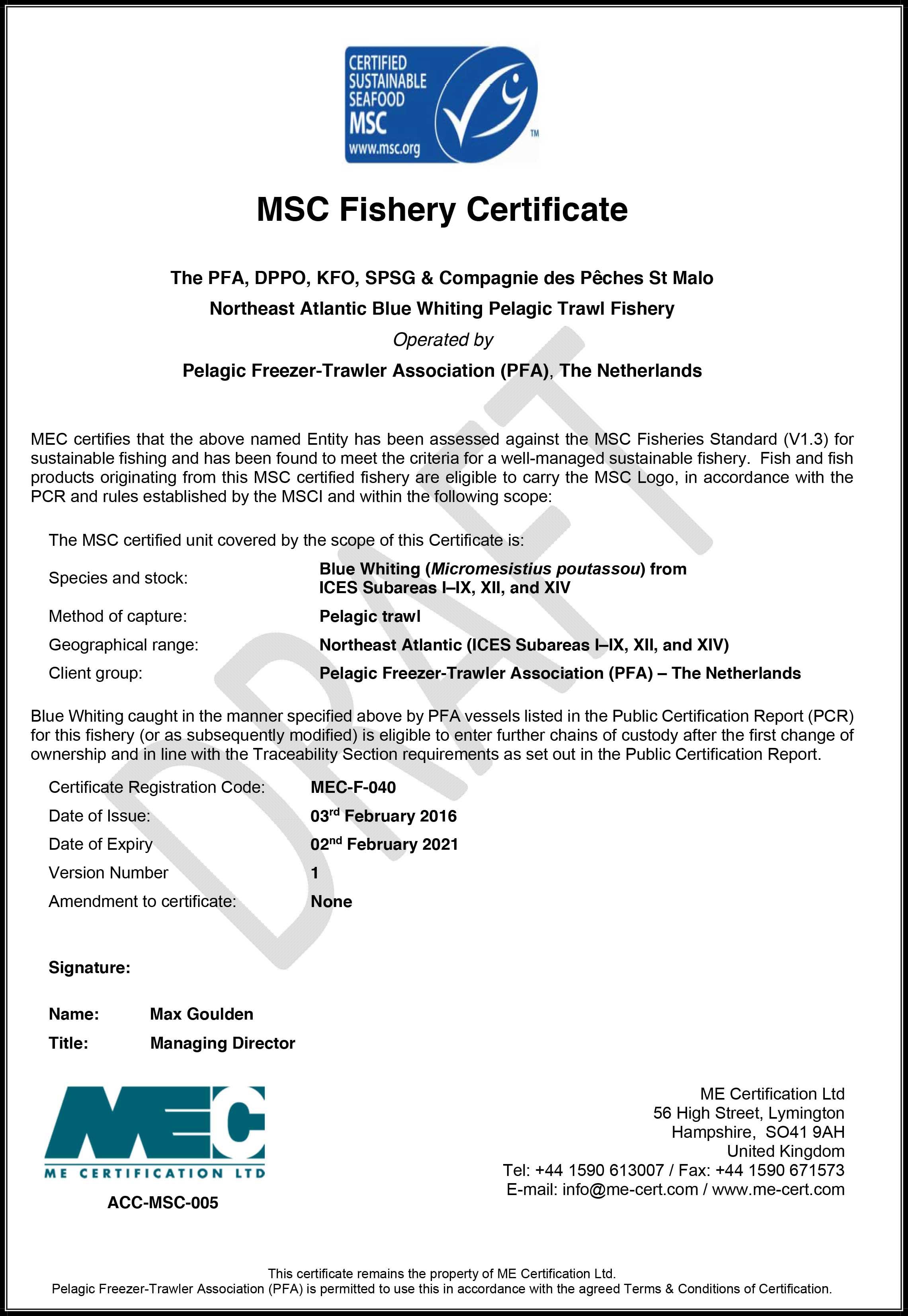 MSC certification for Blue Whiting fishery > Parlevliet & van der Plas
