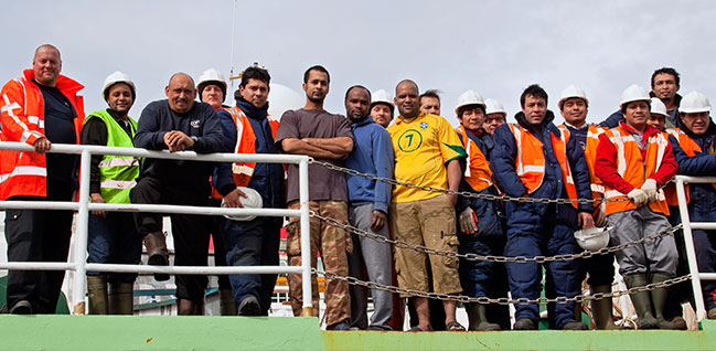 A variety of nationalities work together on our vessels